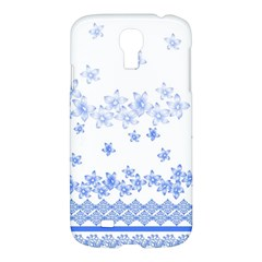 Blue And White Floral Background Samsung Galaxy S4 I9500/i9505 Hardshell Case