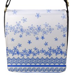 Blue And White Floral Background Flap Messenger Bag (s)