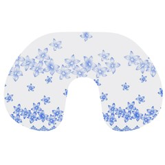 Blue And White Floral Background Travel Neck Pillows