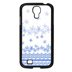 Blue And White Floral Background Samsung Galaxy S4 I9500/ I9505 Case (black)