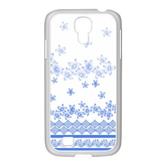 Blue And White Floral Background Samsung Galaxy S4 I9500/ I9505 Case (white)