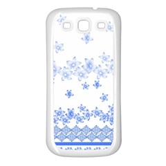Blue And White Floral Background Samsung Galaxy S3 Back Case (white)