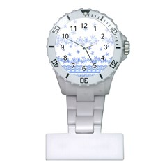 Blue And White Floral Background Plastic Nurses Watch