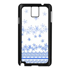 Blue And White Floral Background Samsung Galaxy Note 3 N9005 Case (Black)