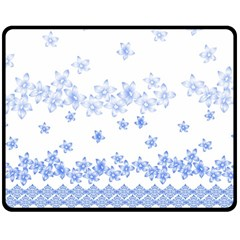 Blue And White Floral Background Double Sided Fleece Blanket (medium)