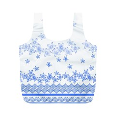 Blue And White Floral Background Full Print Recycle Bags (m)