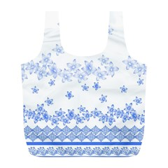 Blue And White Floral Background Full Print Recycle Bags (l)