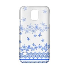 Blue And White Floral Background Samsung Galaxy S5 Hardshell Case