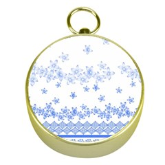 Blue And White Floral Background Gold Compasses