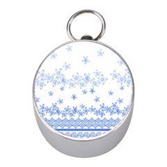 Blue And White Floral Background Mini Silver Compasses