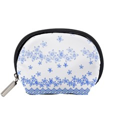 Blue And White Floral Background Accessory Pouches (small)