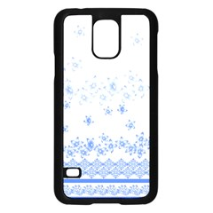 Blue And White Floral Background Samsung Galaxy S5 Case (Black)