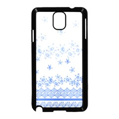 Blue And White Floral Background Samsung Galaxy Note 3 Neo Hardshell Case (black)