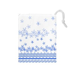 Blue And White Floral Background Drawstring Pouches (medium)