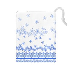 Blue And White Floral Background Drawstring Pouches (large)
