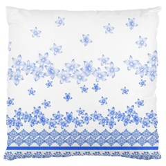 Blue And White Floral Background Large Flano Cushion Case (two Sides)