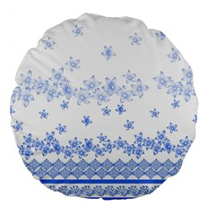 Blue And White Floral Background Large 18  Premium Flano Round Cushions