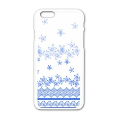 Blue And White Floral Background Apple iPhone 6/6S White Enamel Case