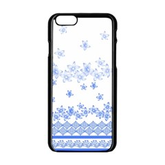 Blue And White Floral Background Apple Iphone 6/6s Black Enamel Case