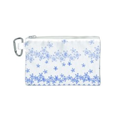Blue And White Floral Background Canvas Cosmetic Bag (s)