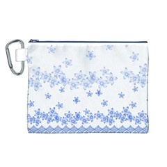 Blue And White Floral Background Canvas Cosmetic Bag (l)