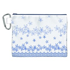 Blue And White Floral Background Canvas Cosmetic Bag (XXL)