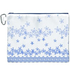 Blue And White Floral Background Canvas Cosmetic Bag (XXXL)