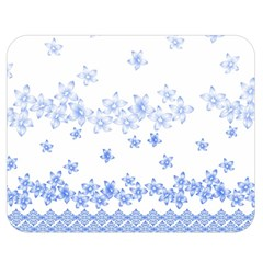 Blue And White Floral Background Double Sided Flano Blanket (medium)