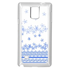 Blue And White Floral Background Samsung Galaxy Note 4 Case (White)