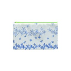 Blue And White Floral Background Cosmetic Bag (xs)