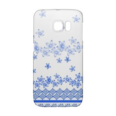 Blue And White Floral Background Galaxy S6 Edge