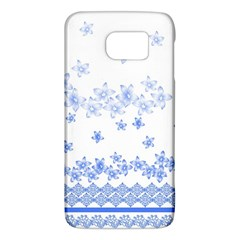 Blue And White Floral Background Galaxy S6
