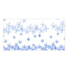 Blue And White Floral Background Satin Shawl