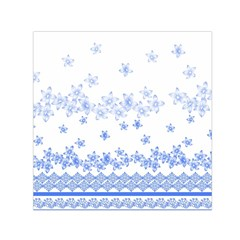 Blue And White Floral Background Small Satin Scarf (Square)