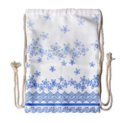 Blue And White Floral Background Drawstring Bag (large)