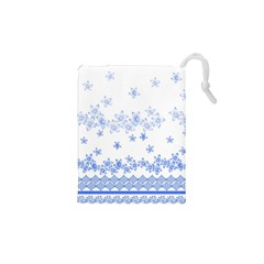 Blue And White Floral Background Drawstring Pouches (xs)