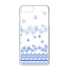 Blue And White Floral Background Apple Iphone 7 Plus White Seamless Case