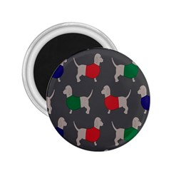 Cute Dachshund Dogs Wearing Jumpers Wallpaper Pattern Background 2.25  Magnets