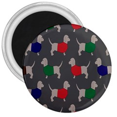 Cute Dachshund Dogs Wearing Jumpers Wallpaper Pattern Background 3  Magnets