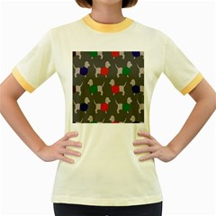 Cute Dachshund Dogs Wearing Jumpers Wallpaper Pattern Background Women s Fitted Ringer T Shirts