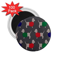 Cute Dachshund Dogs Wearing Jumpers Wallpaper Pattern Background 2 25  Magnets (100 Pack)