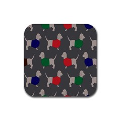 Cute Dachshund Dogs Wearing Jumpers Wallpaper Pattern Background Rubber Square Coaster (4 Pack)