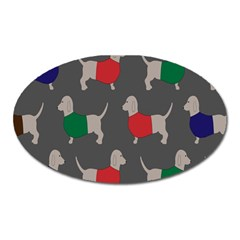 Cute Dachshund Dogs Wearing Jumpers Wallpaper Pattern Background Oval Magnet