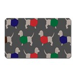 Cute Dachshund Dogs Wearing Jumpers Wallpaper Pattern Background Magnet (Rectangular) Front
