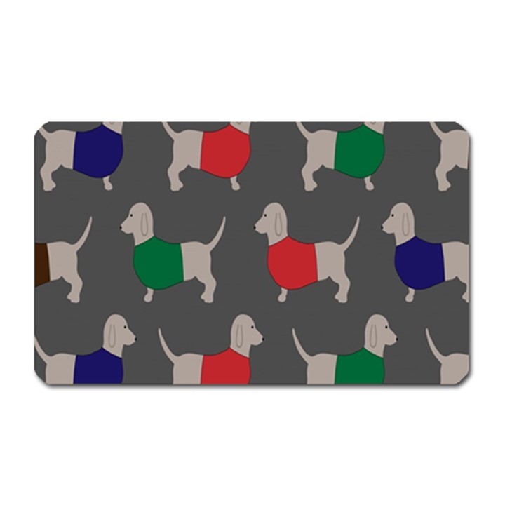 Cute Dachshund Dogs Wearing Jumpers Wallpaper Pattern Background Magnet (Rectangular)