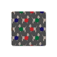 Cute Dachshund Dogs Wearing Jumpers Wallpaper Pattern Background Square Magnet