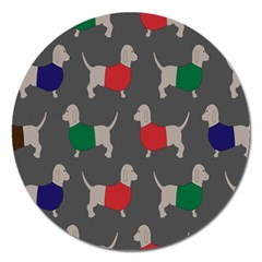 Cute Dachshund Dogs Wearing Jumpers Wallpaper Pattern Background Magnet 5  (Round)