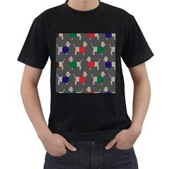 Cute Dachshund Dogs Wearing Jumpers Wallpaper Pattern Background Men s T-Shirt (Black) (Two Sided)