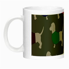 Cute Dachshund Dogs Wearing Jumpers Wallpaper Pattern Background Night Luminous Mugs