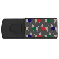 Cute Dachshund Dogs Wearing Jumpers Wallpaper Pattern Background Usb Flash Drive Rectangular (4 Gb)